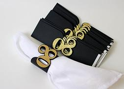 All About Details Black & Gold 80 Napkin Holders, Set of 12