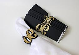 All About Details Black & Gold 90 Napkin Holders, Set of 12