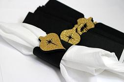 All About Details Black & Gold Christmas Ornament Napkin Hol