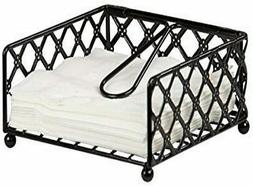 Home Basics NEW Black Lattice Collection Organizer Flat Napk