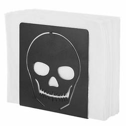 MyGift Black Metal Cutout Skull Napkin Holder
