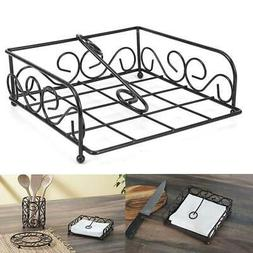 Black Steel Flat Napkin Holder Handicraft Collection Home De