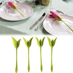 Bloom Napkin Holders Table Green Twist Flower Buds Serviette