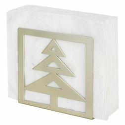 MyGift Brass-Tone Metal Napkin Holder with Christmas Tree Cu