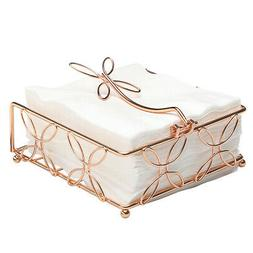 Bright Copper Horizontal Napkin Holder, Rose Gold Kitchen Ac