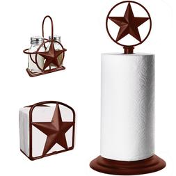 Brown Rustic Texas Star Paper Towel, Napkin, Salt and Pepper