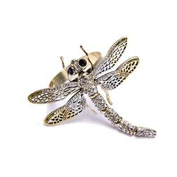 QUEENSHOW Bronze Dragonfly Napkin Rings Set with Beaded Diam
