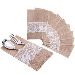 handrong 50Pcs Natural Burlap Lace Silverware Napkin Holder