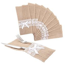 handrong 50pcs Natural Burlap Silverware Napkin Holder Knife