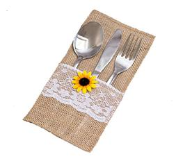 GUAHONG 50 PCS Natural Burlap Silverware Napkin Holders with