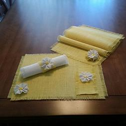 Burlap Spring Yellow Shabby Chic Table Runners, Placemats, S