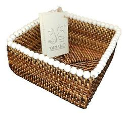 CALAISIO, WHITE BEADED WOVEN COCKTAIL NAPKIN HOLDER, NEW wit