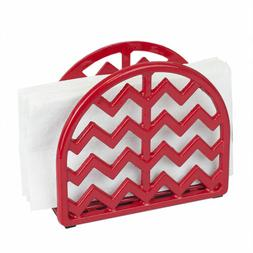 Home Basics Cast Iron Chevron Design Napkin Holder, Red, 5.7