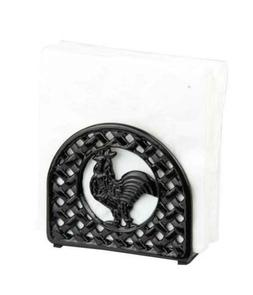 Home Basics Cast Iron Rooster Napkin Holder, Black