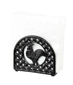 Home Basics Cast Iron Rooster Napkin Holder, Black by Home B