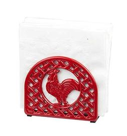 Home Basics Cast Iron Rooster Napkin Holder, Red by Home Bas