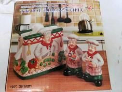 Ceramic Chef Salt And Pepper Shaker Napkin Holder Set Of 3 N