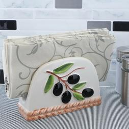 Ceramic Napkin Holder Fence with Olive Branch Design Napkin