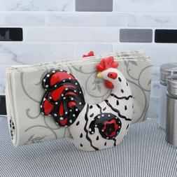 Ceramic Napkin Holder Rooster Shaped Napkin Stand Dispenser
