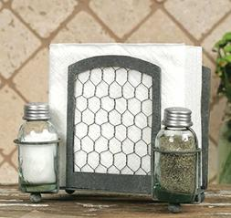 Chicken Wire Country Style Napkin Holder, Salt and Pepper Sh