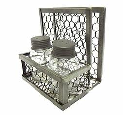 Park Designs Chicken Wire Napkin Holder with Mason Jar Salt