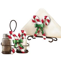 Christmas Kitchen Candy Cane Napkin Holder & Salt & Pepper S