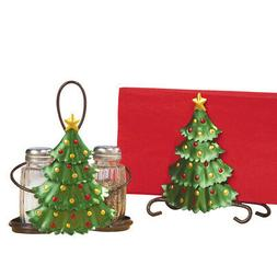 Collections Etc Christmas Tree Salt & Pepper, Napkin Holder