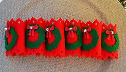 Christmas Wreath Felt Napkin Holders, Set of 6