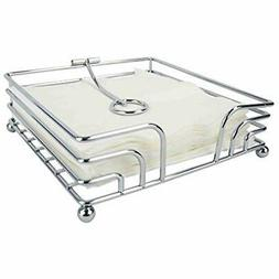 Chrome Plated Steel Flat Napkin Holder With Weighted Pivoted
