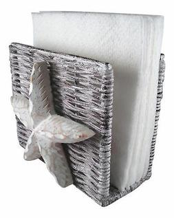 Coastal Nautical Ocean Starfish Napkin Holder Whitewash Wick