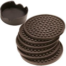 ENKORE Coasters Set of 6 With Holder, Espresso Brown - Prote