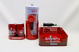 Coca Cola Flat Napkin Holder, Salt & Pepper Shakers and Stra