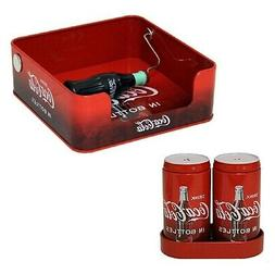 Coca-Cola Tin Napkin Holder and Salt and Pepper Shaker Set.