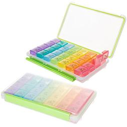 MyGift Color-Coded 7-Day Pill Organizers with Moisture-Proof