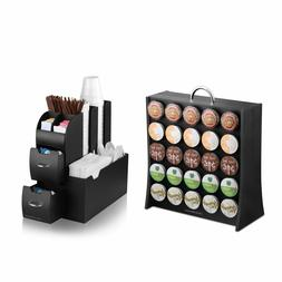 Coffee Condiment Organizer Caddy and K-Cup Display Rack Comb