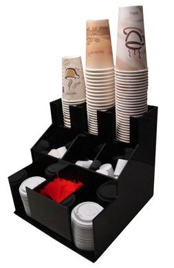Coffee Cup Dispenser and Lid Holder Organizer Condiment Stir