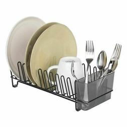 mDesign Compact Countertop, Sink Dish Drying Rack Caddy