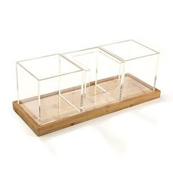 Mind Reader 4 Piece Acrylic Condiment Organizer With Bamboo