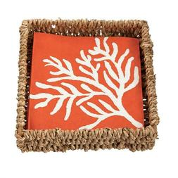 Coral Cocktail Seagrass Napkin Holder With Napkins  by Mud P