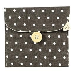 Girl Cotton Blends Polka Dots Sanitary Pad Holder Button Bag