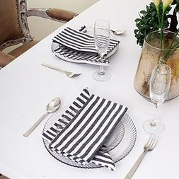 Cotton Dinner Napkins Black & White Stripe, Set of 12 , Over