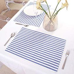 Cotton Placemats, Set Of 4, Double Sided Placemats ,Blue & W