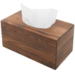 MyGift Country Rustic Brown Torched Wood Bathroom Facial Tis