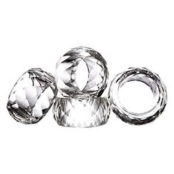 Set of 12 Donoucls Crystal Napkin Ring Holders - 2 Inch, Tab