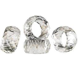 DONOUCLS Crystal Napkin Ring Holders - 2 Inch Set of 4,Table