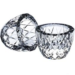 DONOUCLS Crystal Tealight Candle Holder Pack of 2 Party Dinn