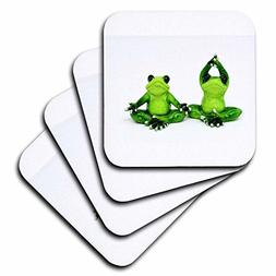 3dRose cst_279985_1 Image of Cartoon of 2 Frogs Doing Yoga,