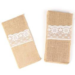 Cutlery Pouch, 10 Packs 4 X 8 Inches Natural Linen Lace Silv