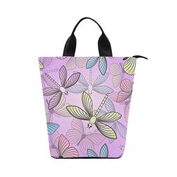 Cylinder Lunch Bag Tote Dragonfly Pink Printed Lunch Organiz