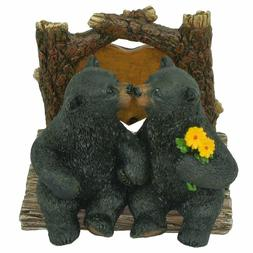 DeLeon Decorative Black Bears Kissing Napkin Holder - Rustic